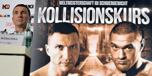 Владимир Кличко и Тайсън Фюри на пресконференция в Дюселдорф