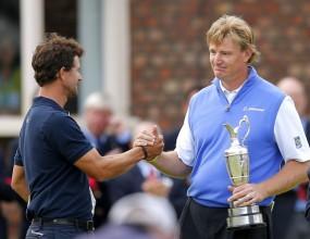 Адам Скот подари на Ърни Елс титлата на The Open Championship