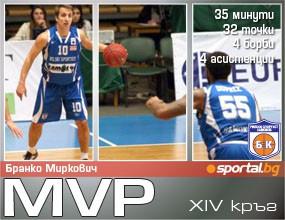 Бранко Миркович - MVP на XIV кръг на Булсатком НБЛ