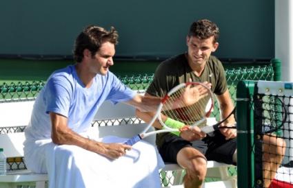 Григор и Роджър тренират заедно (снимки и видео)