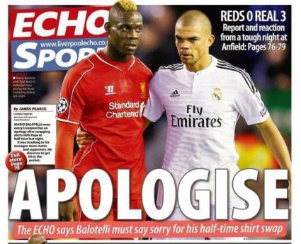 """""""Liverpool Echo"""" към Балотели: Извини се!"""