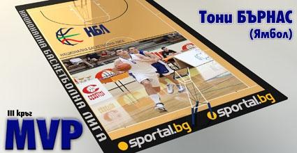 Тони Бърнас - MVP на III кръг на НБЛ