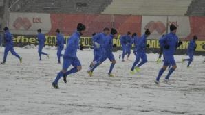 """""""Сините"""" тренират на сняг преди гостуването на шампионите"""