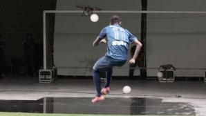 Неймар сваля дронове с топка и бележи с удар зад вратата (видео)