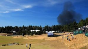 Пожар стресна голфърите на US Open