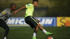 Неймар получил контузия в коляното на последната тренировка на Бразилия