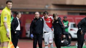 Защитник на Монако със счупен крак