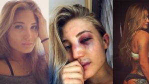 Красавицата Анастасия Янкова от Bellator MMA позира след двубой