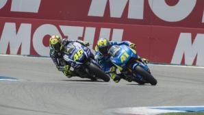 Неприличните жестове между Роси и Еспергаро ще им докарат глоби в MotoGP (Видео)