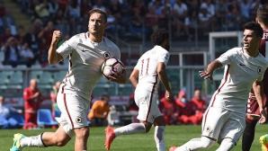 Тоти с юбилеен гол в тъжен мач за Рома (видео)