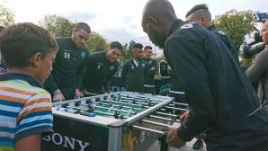 Звездите на Лудогорец посетиха зоната за фенове в София преди мача с ПСЖ