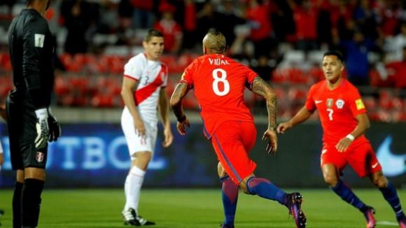 Артуро Видал донесе ценна победа на Чили срещу Перу