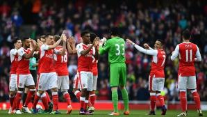 Арсенал сбърка след разгрома над Лудогорец, но излезе на върха поне за малко (видео)