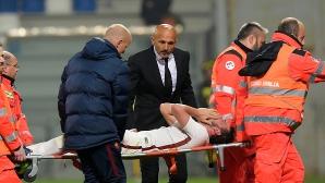 Ужасна контузия на важен играч помрачи победата на Рома (видео)