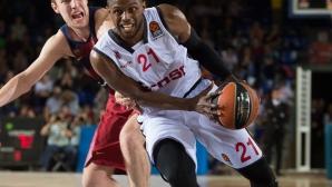 Везенков игра малко при драматична загуба на Барселона в Евролигата