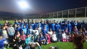 Деца от българското училище в Паралимни се включиха в тренировката на Левски