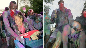 Болт купонясва с горещи мацки на карнавал (видео)