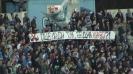 Сините фенове с транспарант срещу боса на Левски