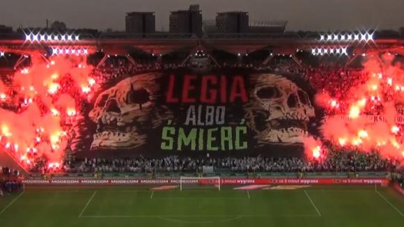 Страхотна атмосфера на стадиона на Легия (Варшава) в мач срещу Ягиелония Бялисток