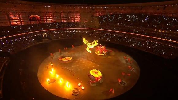 Част от церемонията по закриването на игрите в Баку
