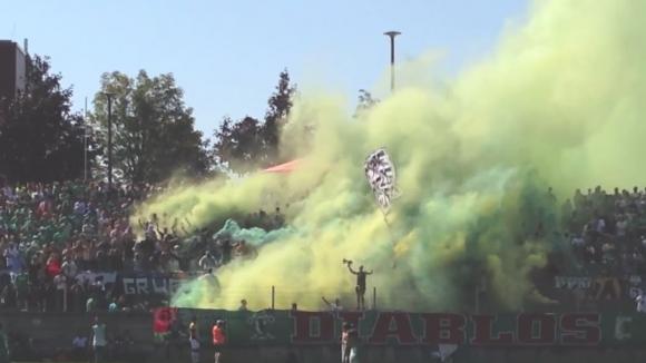 Шоуто на ултрасите на Заксен Лайпциг срещу Кикерс 94