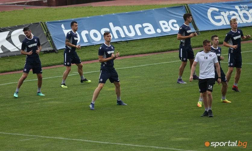 Тренировка на Хайдук (Сплит) преди мача със Славия