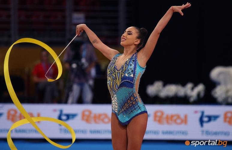 Катрин Тасева с лента на СП по художествена гимнастика