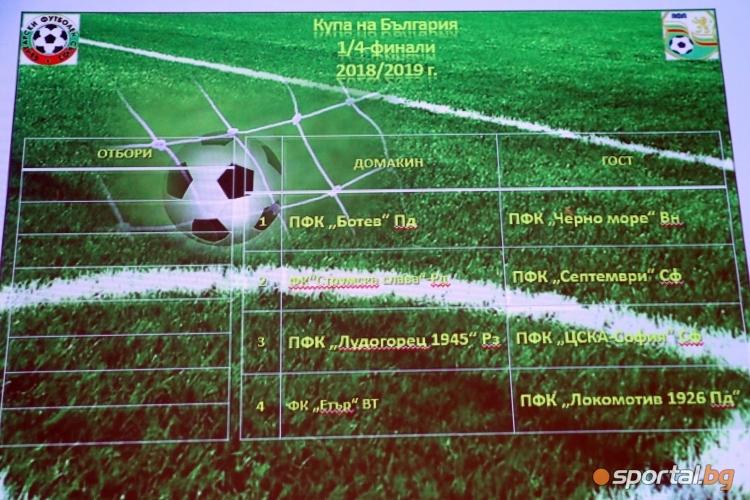 Жребий за 1/4-финалите на Купата на България