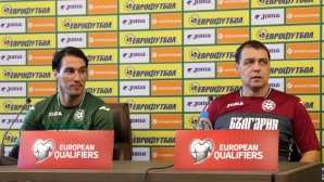 Пресконференция на Петър Хубчев и Ивелин Попов преди мача с Швеция