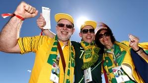 Феновете на Австралия срещу Дания