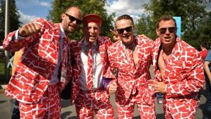 Феновете на Дания за мача с Франция