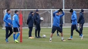 Футболистите на Левски тренират преди мача с Верея