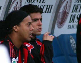 Пато и Роналдиньо на пейката срещу Юве