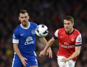 Голяма битка, но без голове между Арсенал и Евертън (видео)