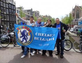 """Официалният фенклуб на Челси в България подкрепи """"сините"""" в Амстердам"""