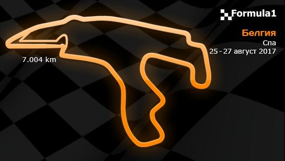 12 кръг: Гран При на Белгия 25-27 август 2017