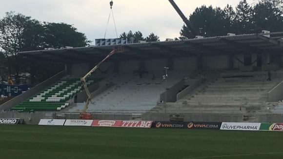 """Започна поставянето на седалките на сектор """"В"""" на """"Лудогорец Арена"""" (снимки)"""