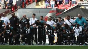 """Масов протест срещу химна на САЩ за десетата годишнина на """"НФЛ на """"Уембли"""""""