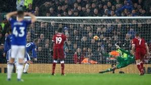 Пропуски лишиха Ливърпул от победа в мърсисайдското дерби (видео)