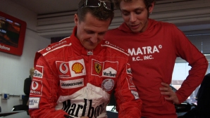 Валентино Роси изумил Шумахер в първия си Ф1 тест