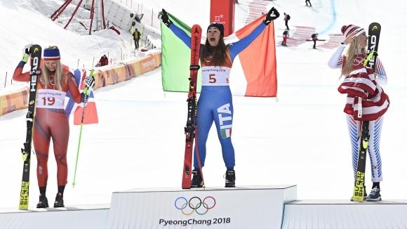 София Годжа се изстреля на върха в спускането при жените, Вон се задоволи...