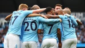 Ман Сити отнесе Суонзи в първия си шампионски мач, остават два гола до кота 100 (видео)