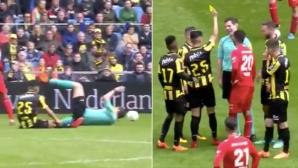 Куриозно! Футболист показа жълт картон на рефер (видео)
