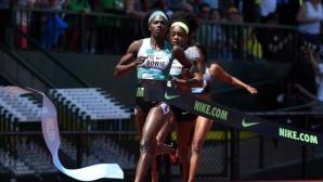 Здрава битка на 100 м при дамите в Юджийн