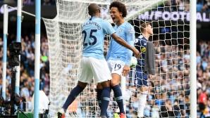 Манчестър Сити се справи с лекота с Фулъм при завръщането на Сане (видео)