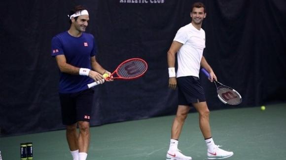 """Григор Димитров и Роджър Федерер тренират в Чикаго за """"Лейвър Къп"""""""