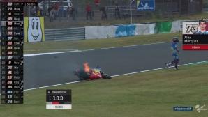 Братът на Маркес с тежка катастрофа в Япония, моторът му се запали