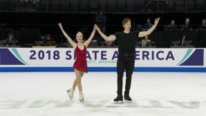 """Тарасова и Морозов поведоха след кратката програма в """"Скейт Америка"""""""