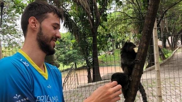Волейболен национал се забавлява с маймуни