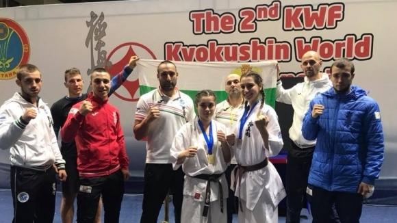 Световна шампионска титла и сребро спечелиха каратеките на БККФ от Мондиала по киокушин в Казахстан